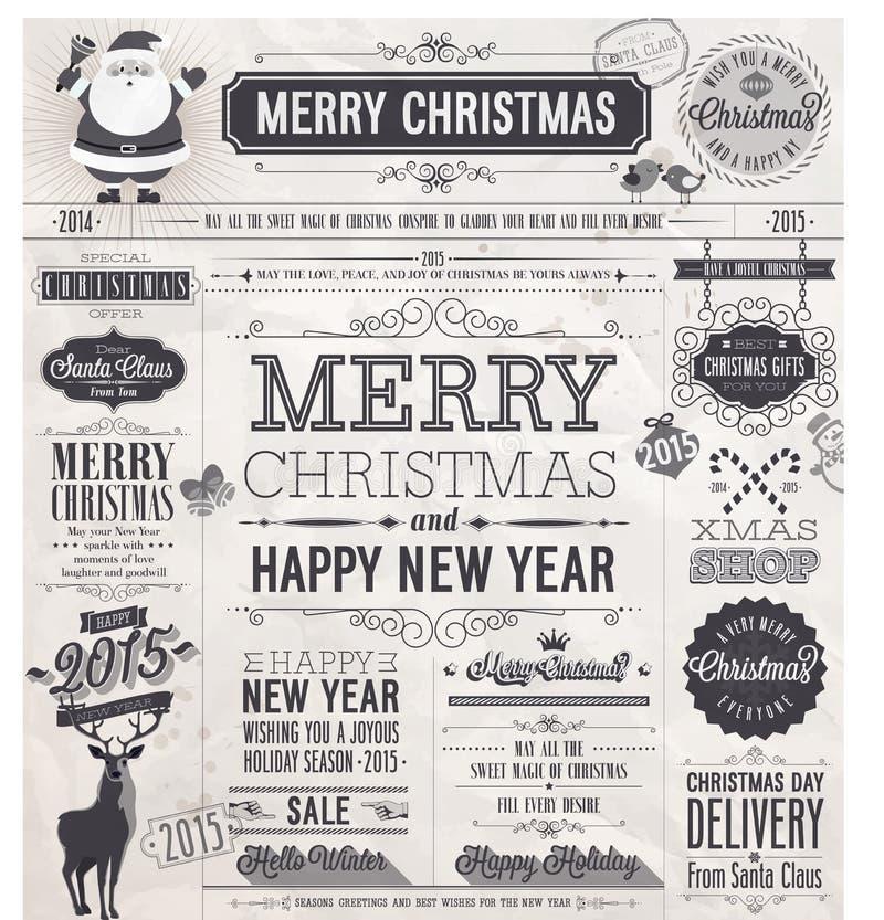 La Navidad fijada - escrituras de la etiqueta, emblemas y otros elementos decorativos libre illustration