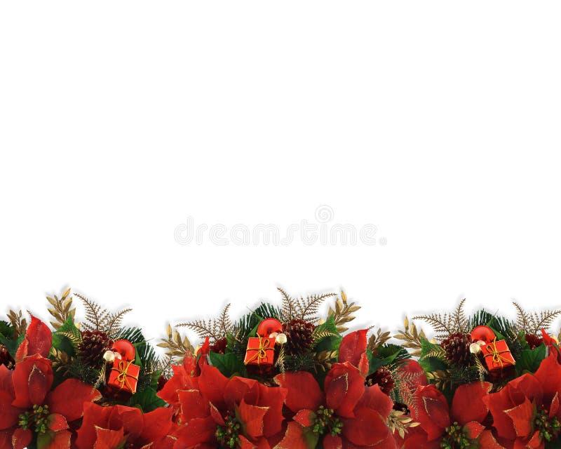 La Navidad florece poinsettias de la frontera stock de ilustración