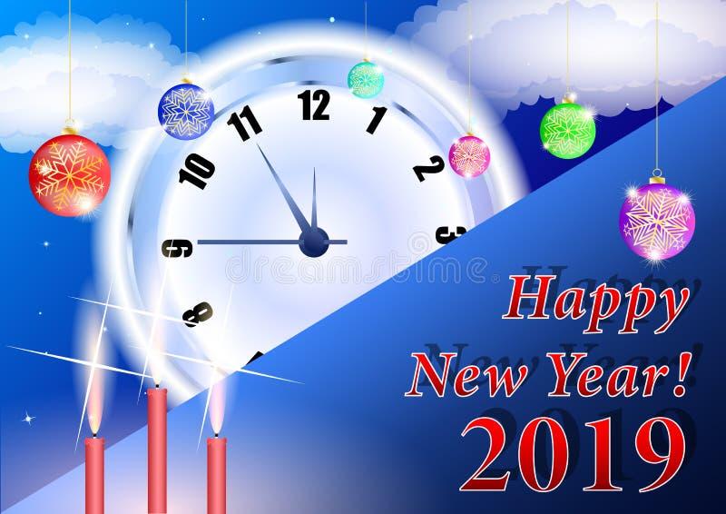 La Navidad Fondo 2019 de la Feliz Año Nuevo con el reloj stock de ilustración