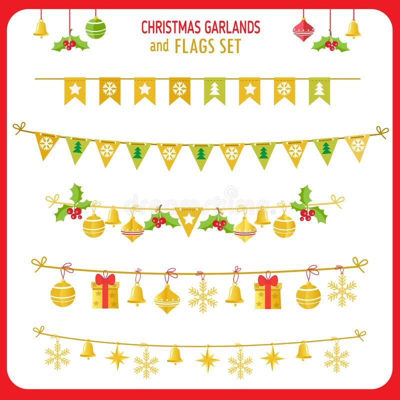La Navidad Garland And Flags Set Clip Art On White Background del vector de las vacaciones de invierno Año Nuevo Garland Decorati libre illustration
