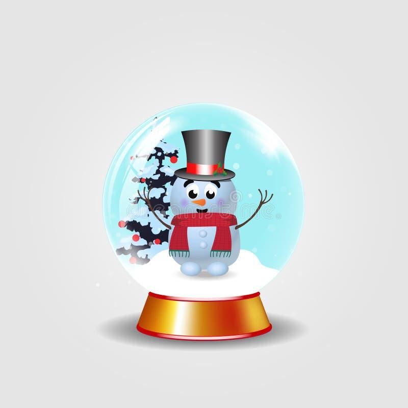 La Navidad, globo cristalino de la nieve del Año Nuevo con el muñeco de nieve lindo en sombrero de copa en blanco stock de ilustración