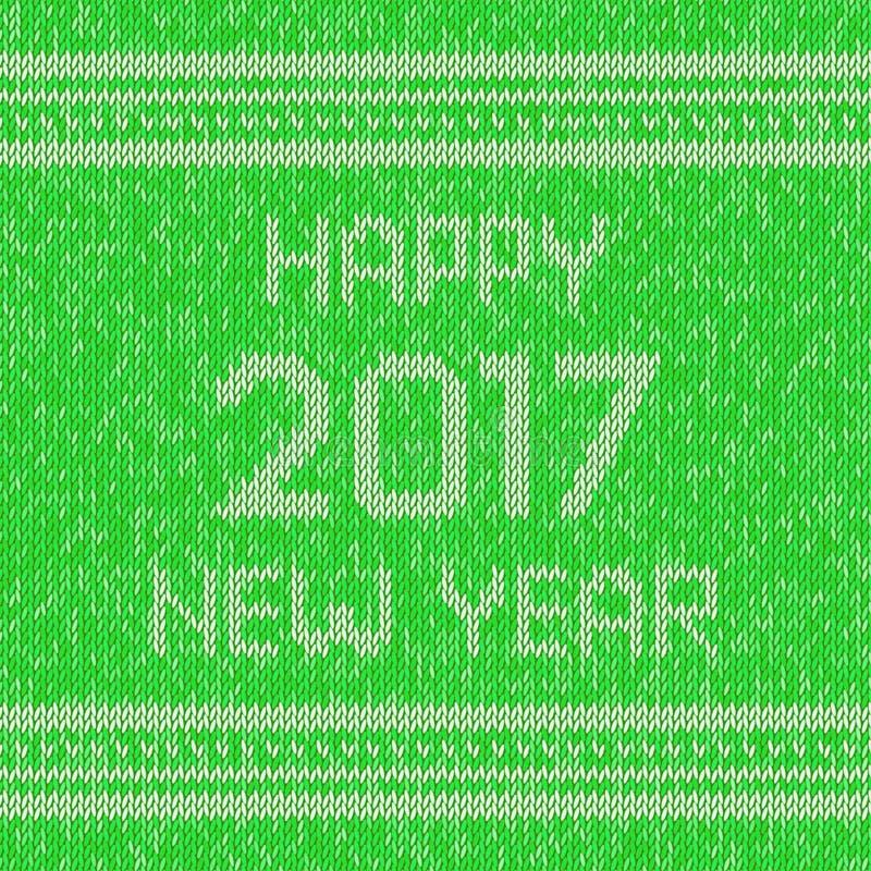 La Navidad hizo punto el modelo del diseño del suéter Texto de la Feliz Año Nuevo 2017 Vector stock de ilustración
