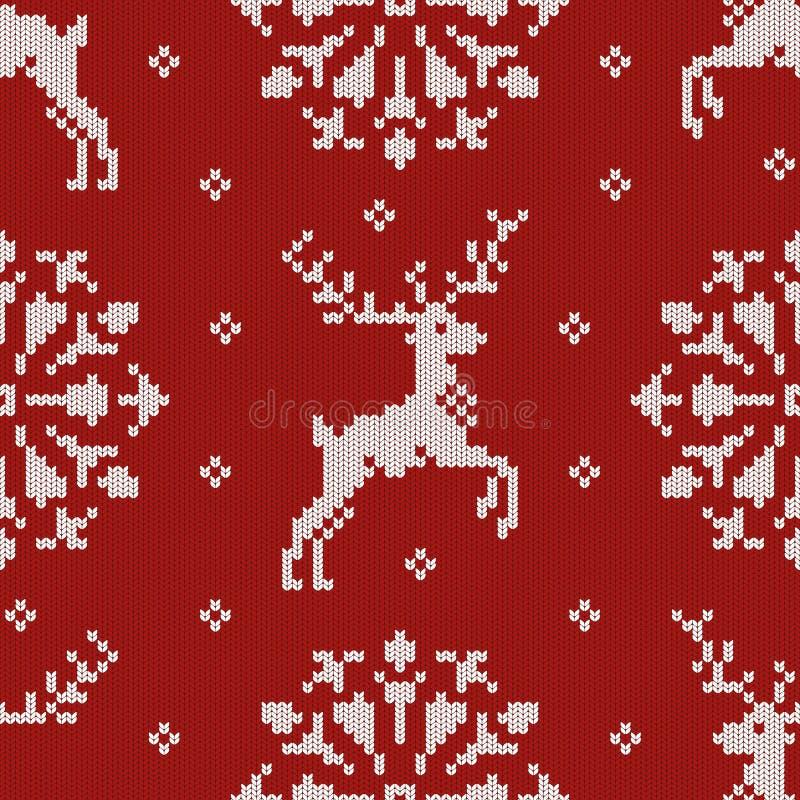 La Navidad hizo punto el modelo inconsútil con ciervos y un copo de nieve ilustración del vector