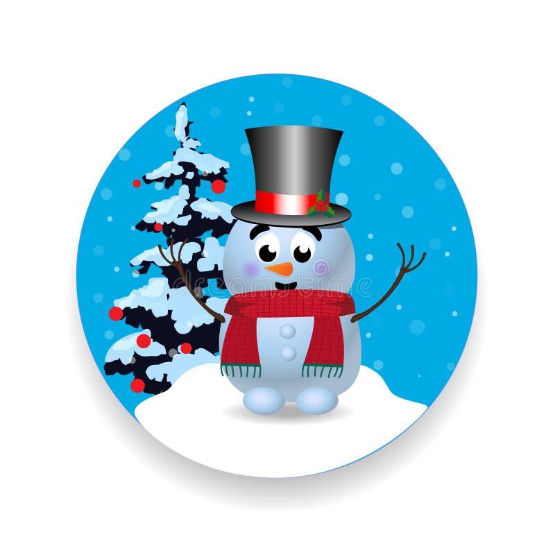 La Navidad, icono redondo de la muestra del Año Nuevo con el muñeco de nieve lindo en el fondo blanco stock de ilustración