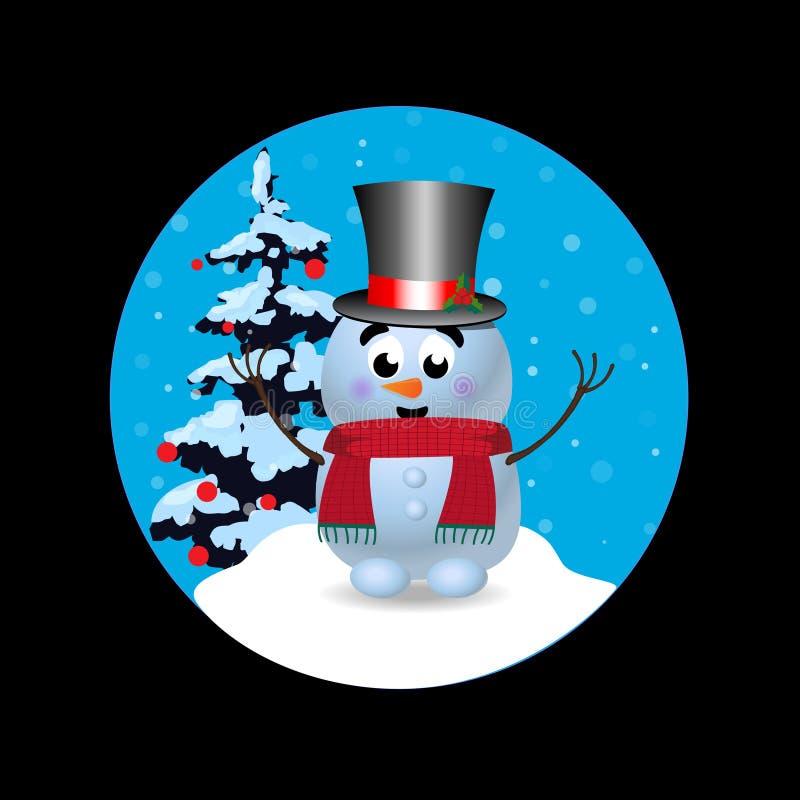 La Navidad, icono redondo de la muestra del Año Nuevo con el muñeco de nieve lindo en fondo negro stock de ilustración