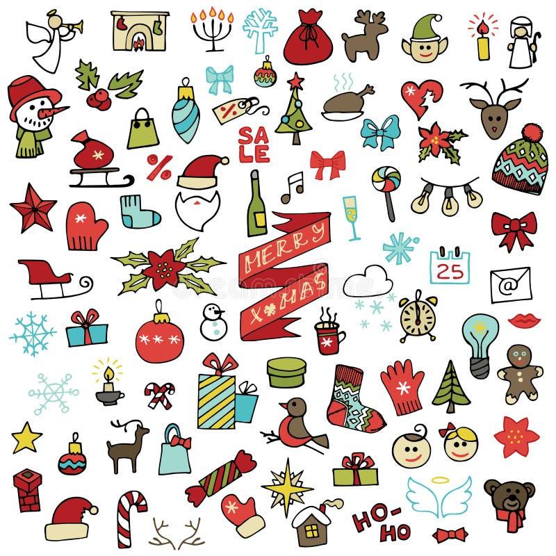 La Navidad, iconos del Año Nuevo fijados Garabato coloreado ilustración del vector