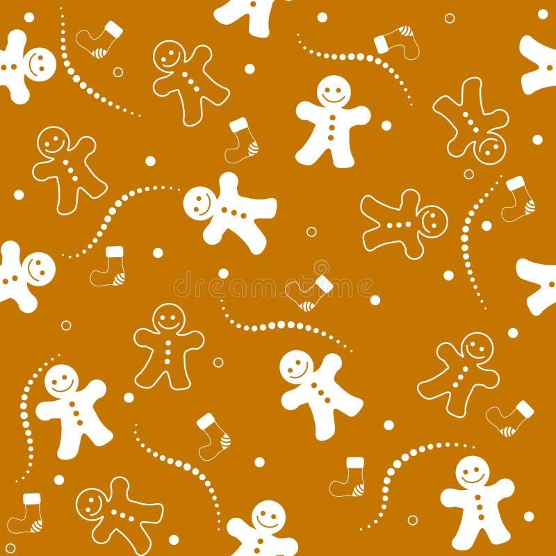 La Navidad inconsútil del modelo del pan de jengibre ilustración del vector