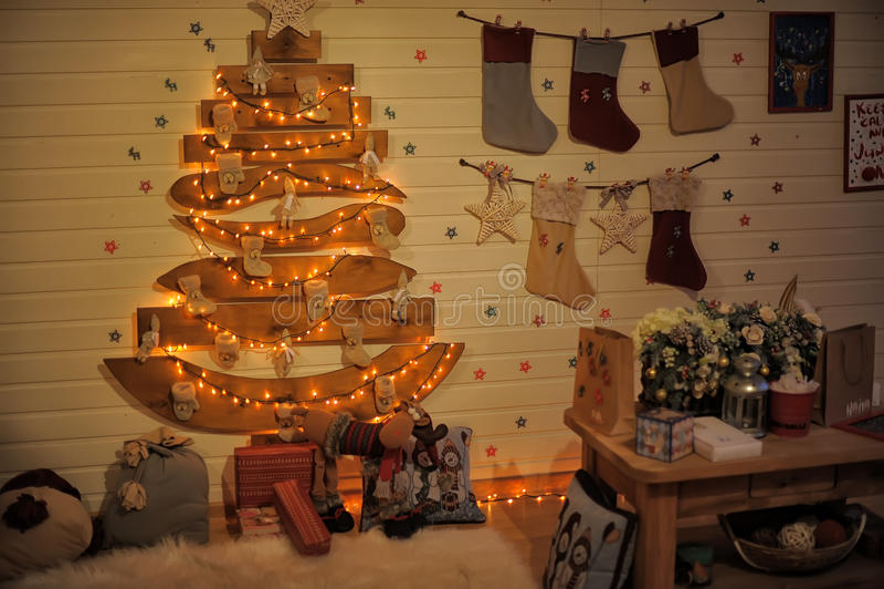 La Navidad interior stock de ilustración