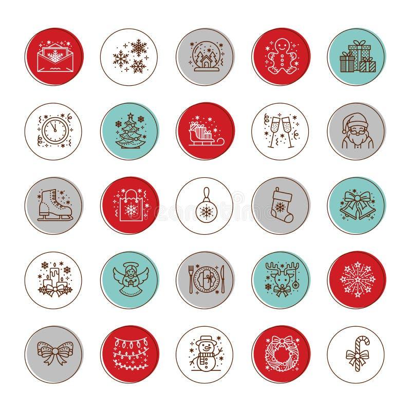 La Navidad, línea plana iconos del Año Nuevo Vacaciones de invierno - regalo del árbol de navidad, muñeco de nieve, Papá Noel, fu stock de ilustración