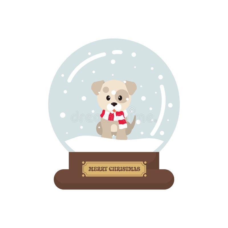 La Navidad linda de la historieta con el snowglobe del perro del invierno en un fondo blanco stock de ilustración