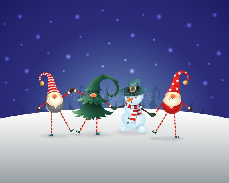 La Navidad Los amigos felices tres gnomos y muñeco de nieve celebran la Navidad y el Año Nuevo Paisaje azul del invierno de la no libre illustration
