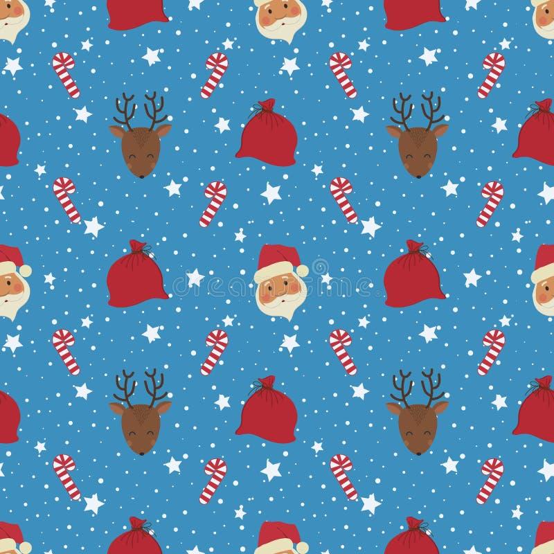 La Navidad Modelo inconsútil con las cabezas, los ciervos, los bolsos con los regalos y los dulces de Santa Claus ilustración del vector