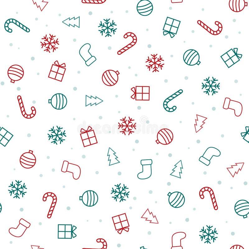 La Navidad modelo inconsútil con los iconos de la Navidad ilustración del vector