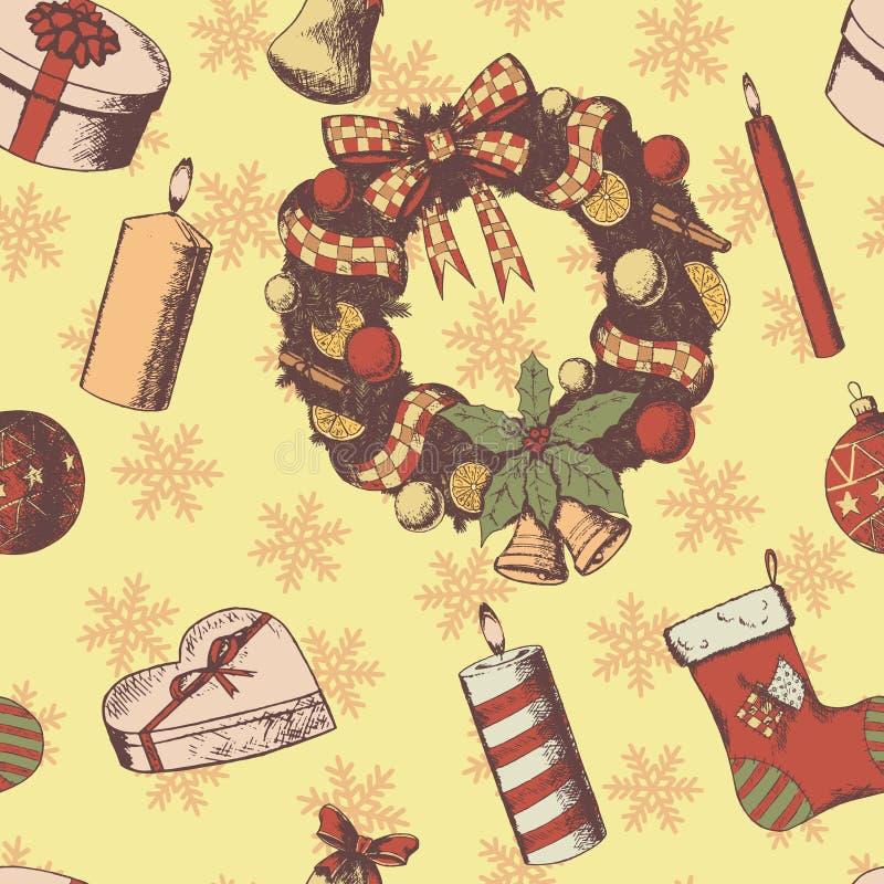 La Navidad o la mano del Año Nuevo dibujada coloreó el modelo inconsútil del vector Bosquejo de las cualidades y de los símbolos, ilustración del vector