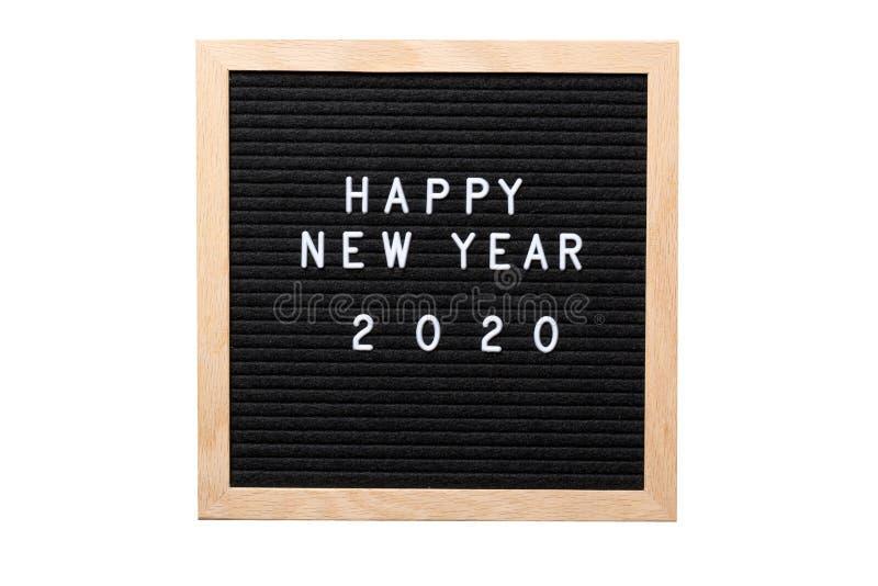 La Navidad o marco o maqueta del Año Nuevo para su proyecto Palabras de la Feliz Año Nuevo 2020 en un tablero de la letra aislado fotografía de archivo libre de regalías