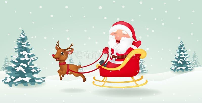 La Navidad Papá Noel con el trineo de la Navidad ilustración del vector