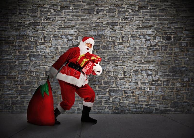 La Navidad Papá Noel con los regalos. foto de archivo libre de regalías