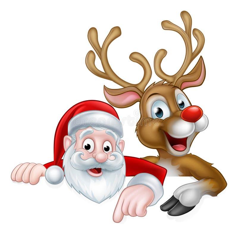 La Navidad Papá Noel de la historieta y reno ilustración del vector