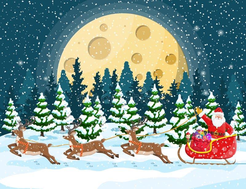 La Navidad Papá Noel monta el trineo del reno ilustración del vector