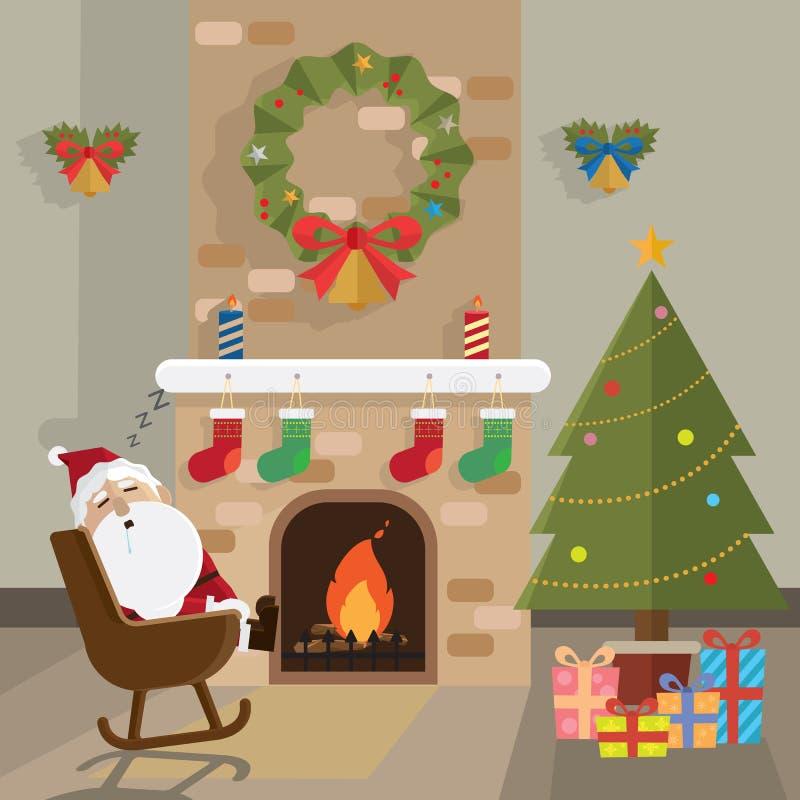La Navidad Papá Noel relaja el sitio de la chimenea stock de ilustración