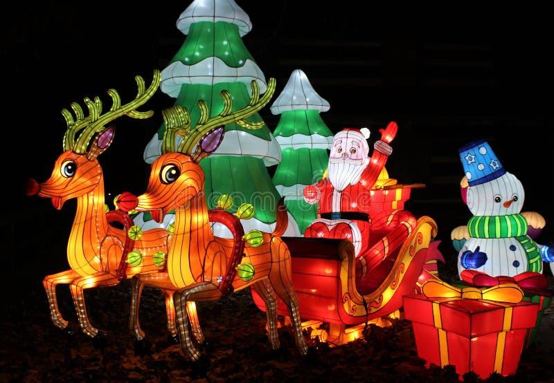 La Navidad Papá Noel, trineo y muñeco de nieve en los parques de atracciones chinos del centro y del estado de la expo de Ohio de imágenes de archivo libres de regalías