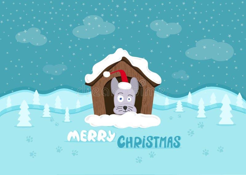 La Navidad Perro lindo con un sombrero de santa ilustración del vector