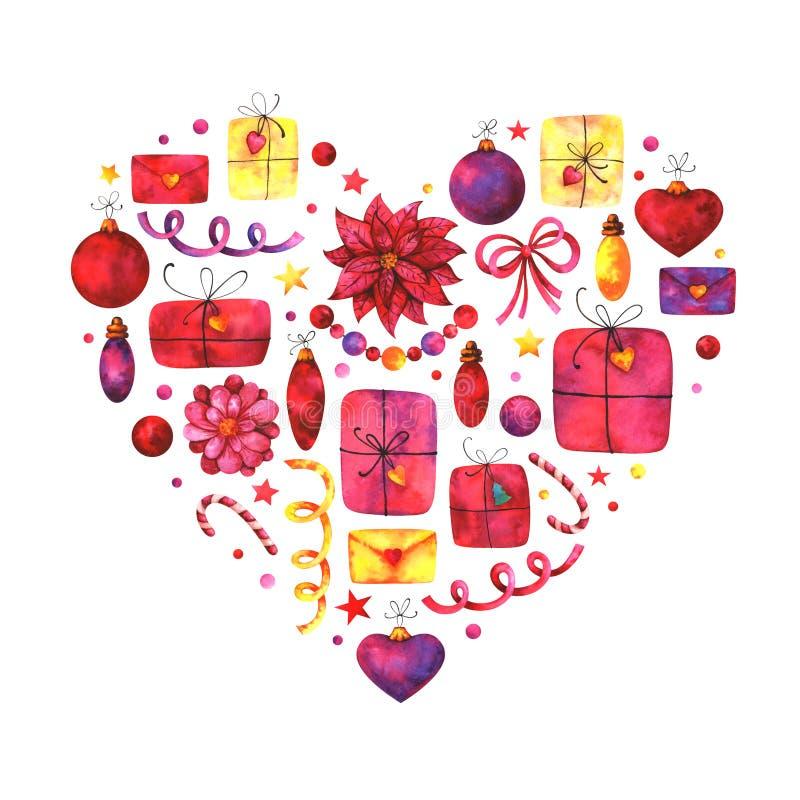 La Navidad pintada a mano y Años Nuevos de tarjeta de felicitación stock de ilustración