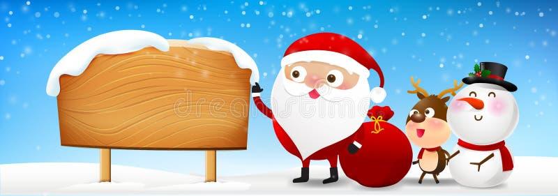 La Navidad Santa Claus con el fondo de madera en blanco de la muestra con el poli ilustración del vector
