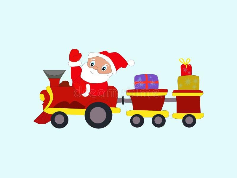 La Navidad Santa Claus del Año Nuevo del invierno en tren con los regalos eps10 ilustración del vector