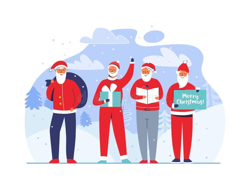 La Navidad Santa Claus en el fondo Nevado Caracteres planos lindos de las vacaciones de invierno Tarjeta de felicitación de la Fe ilustración del vector