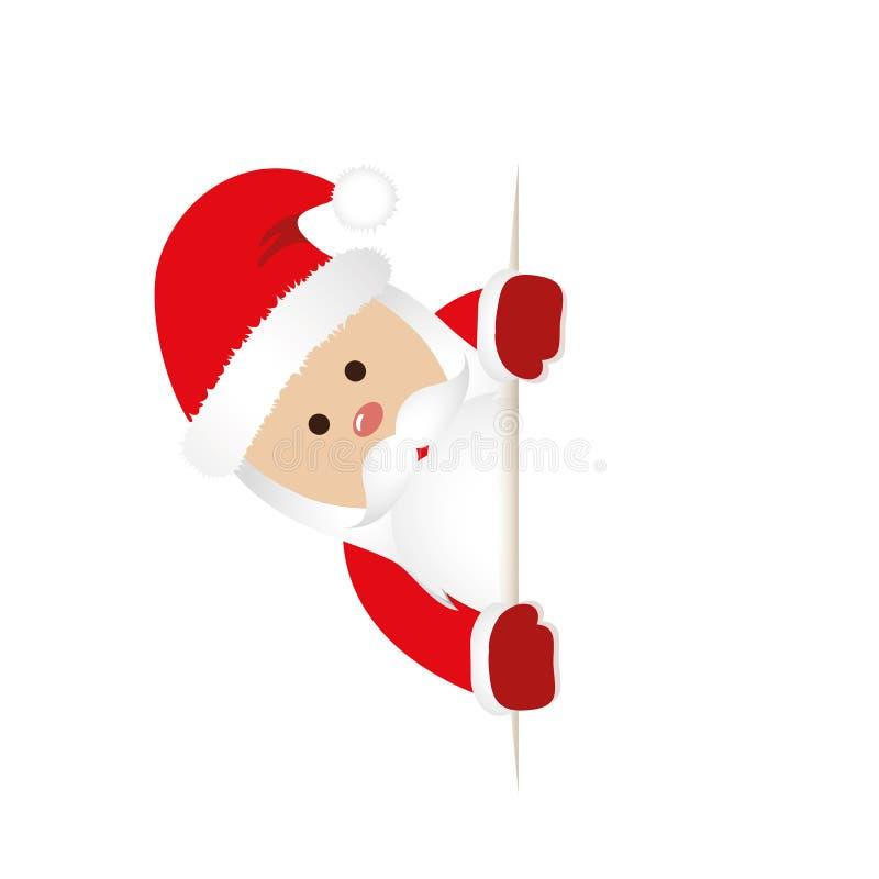 La Navidad Santa Claus en rojo detrás de la tarjeta de felicitación en blanco libre illustration