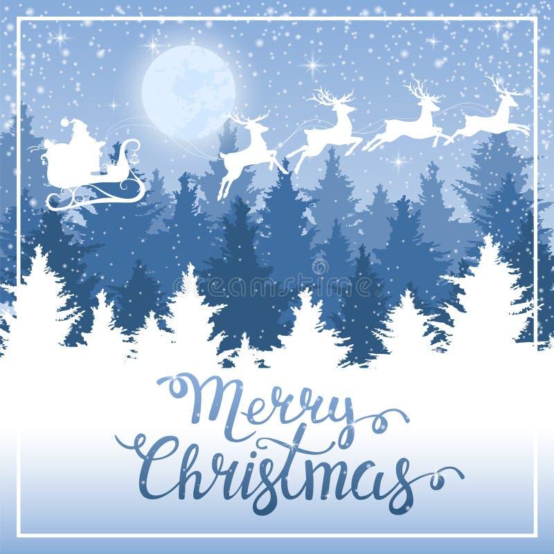 La Navidad Santa Claus en un trineo stock de ilustración