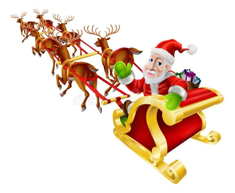 La Navidad Santa Claus Sled de la historieta stock de ilustración