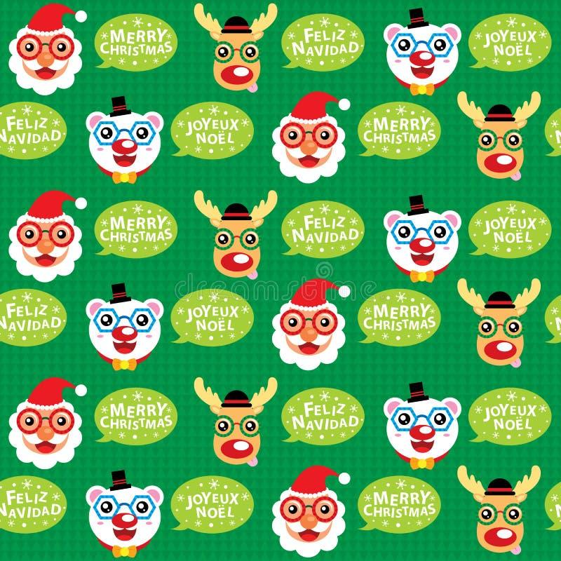 La Navidad Santa Claus y amigos inconsútiles stock de ilustración