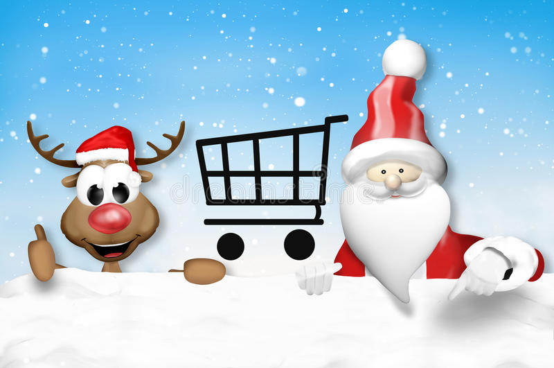 La Navidad Santa Claus y reno feliz libre illustration