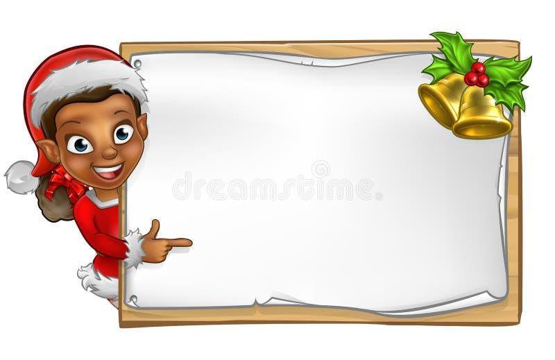 La Navidad Santa Helper Elf Character Sign stock de ilustración