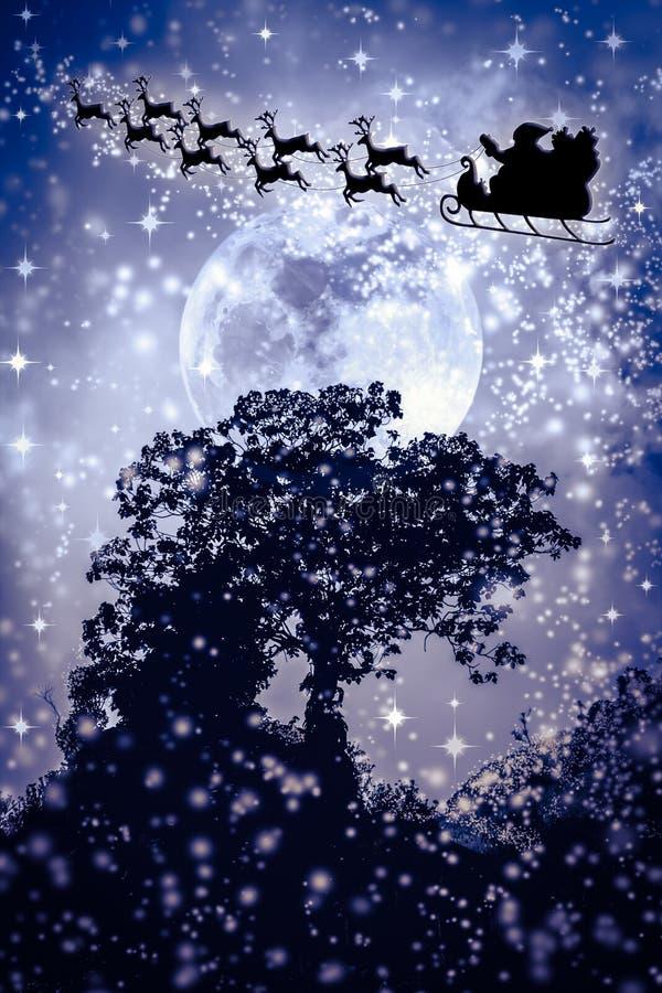 La Navidad Silueta del vuelo de Santa Claus en un slei stock de ilustración