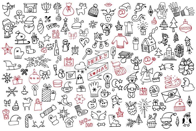 La Navidad, sistema grande de los iconos del Año Nuevo Garabato incompleto ilustración del vector