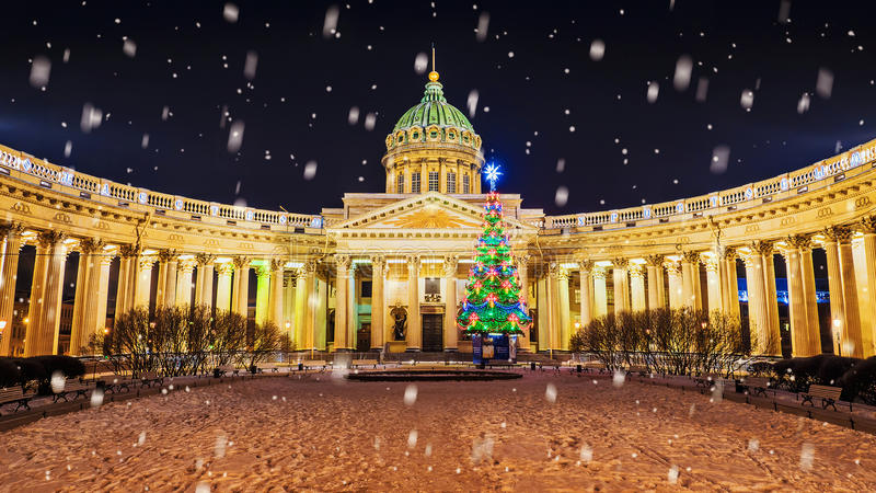 La Navidad St Petersburg Catedral de Kazan foto de archivo libre de regalías