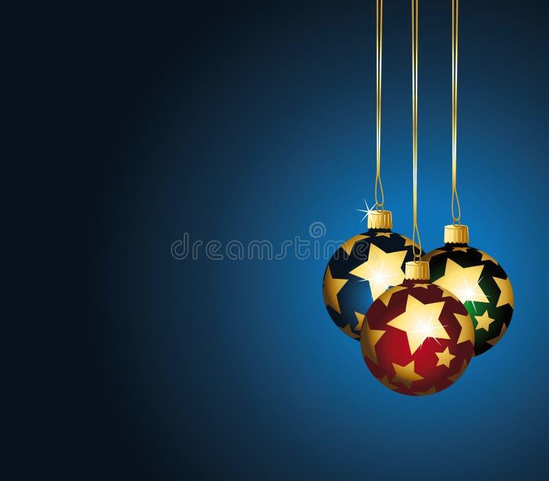 La Navidad stars los ornamentos en fondo azul. libre illustration