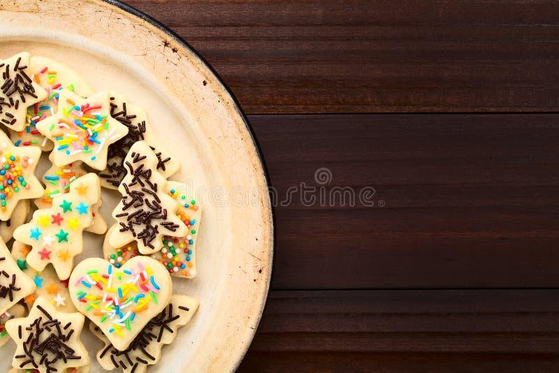La Navidad Sugar Cookies con asperja imagen de archivo
