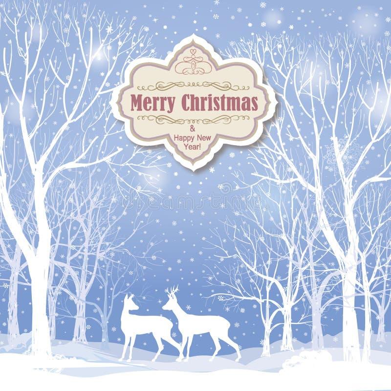 La Navidad Tarjeta de felicitación del paisaje del invierno de la nieve libre illustration