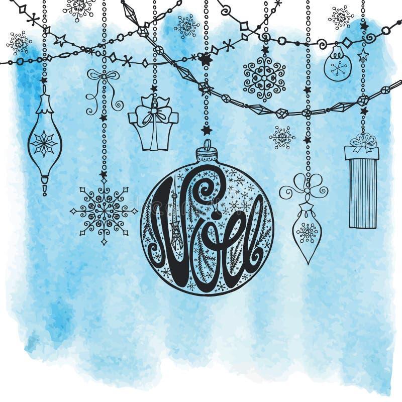 La Navidad, tarjeta de Noe Bola de las letras, guirnaldas watercolor stock de ilustración