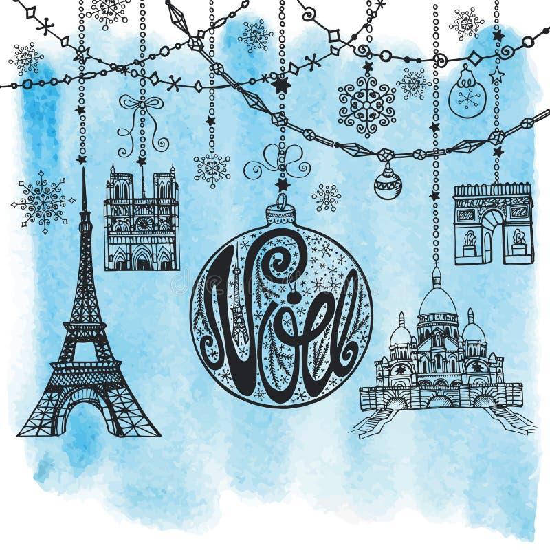 La Navidad, tarjeta de Noe Guirnaldas, bola, señal de París watercolor stock de ilustración