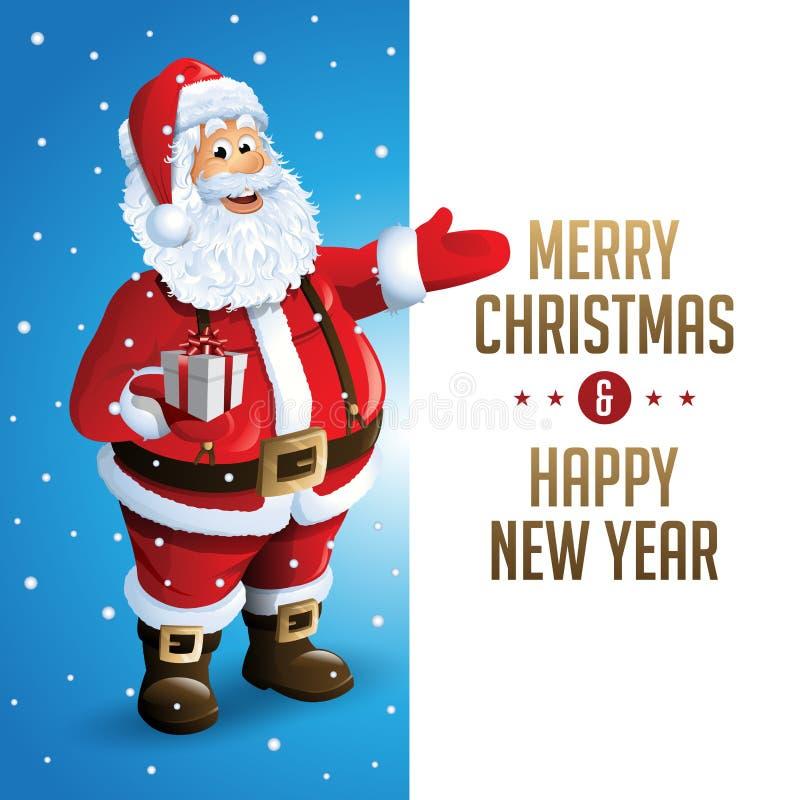 La Navidad Tittle de Santa Claus Cartoon Character Showing Merry escrito en espacio en blanco Ilustración del vector ilustración del vector