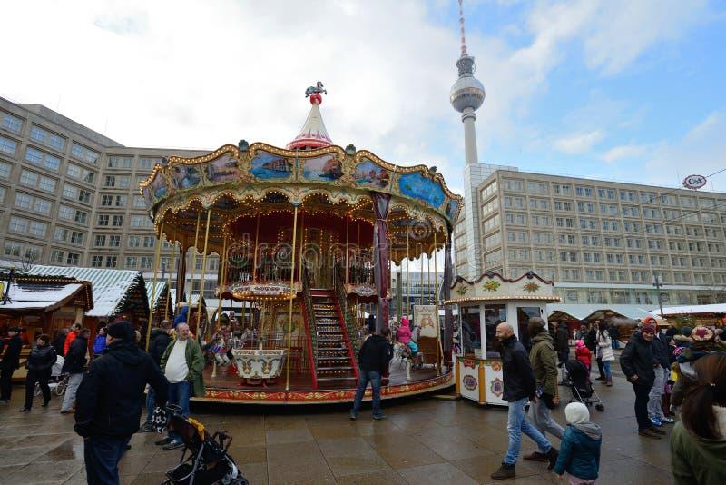 La Navidad tradicional justa, Berlín fotografía de archivo