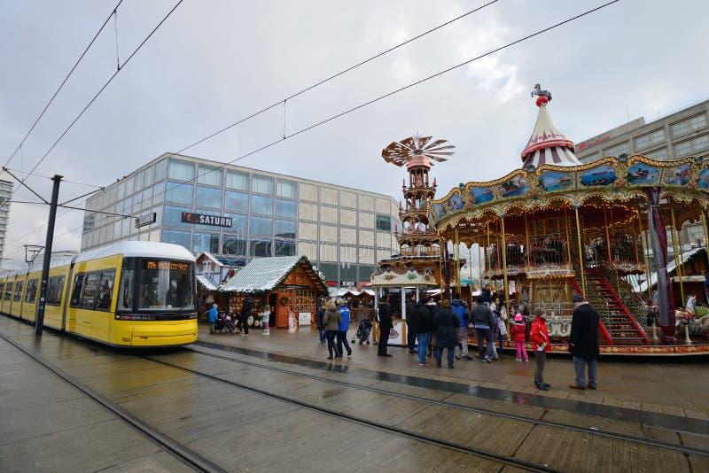 La Navidad tradicional justa en Alexanderplatz fotografía de archivo libre de regalías