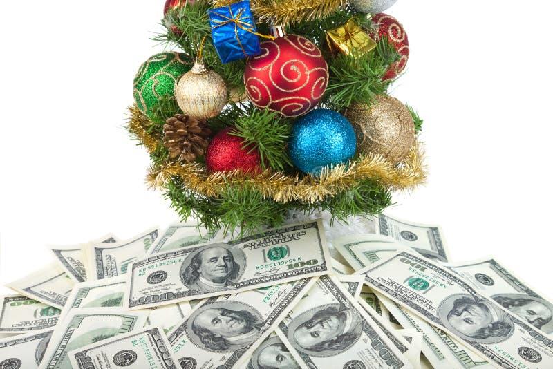 La Navidad tree&dollars-1 imágenes de archivo libres de regalías