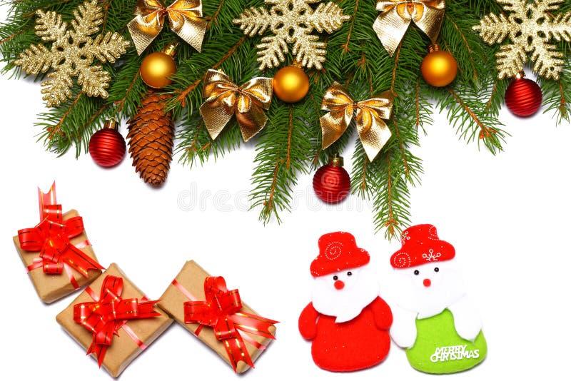 La Navidad Visión superior con el espacio de la copia árbol de abeto con el cono aislado en el fondo blanco fotos de archivo libres de regalías