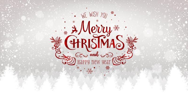 La Navidad y Año Nuevo tipográficos en fondo nevoso de Navidad con el paisaje con los copos de nieve, luz, estrellas del invierno libre illustration